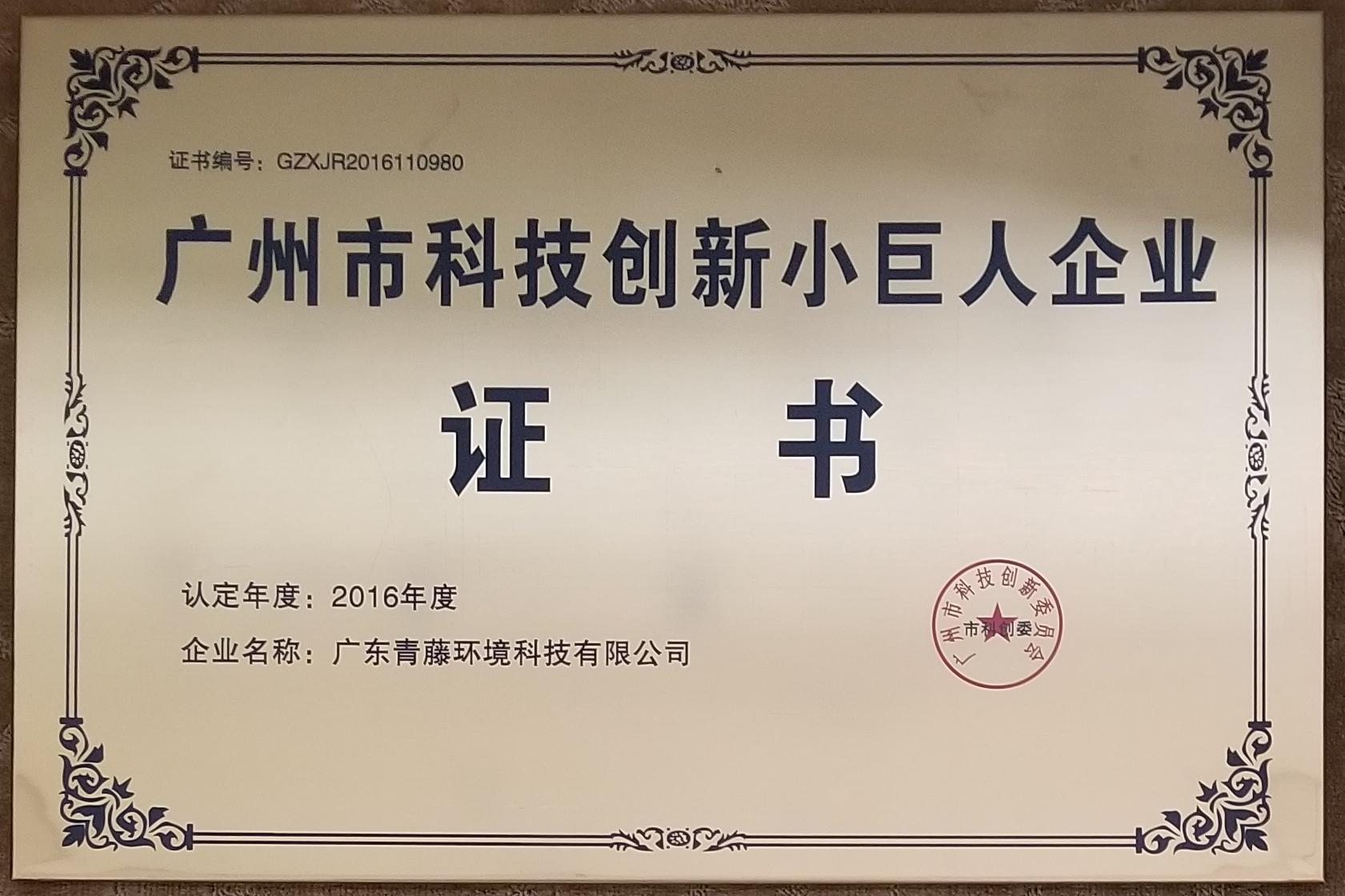 青藤环境广州市科技创新小巨人企业证书